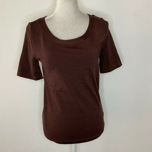 New Wolford Size Large Top Brown Scoop Neck Cotton